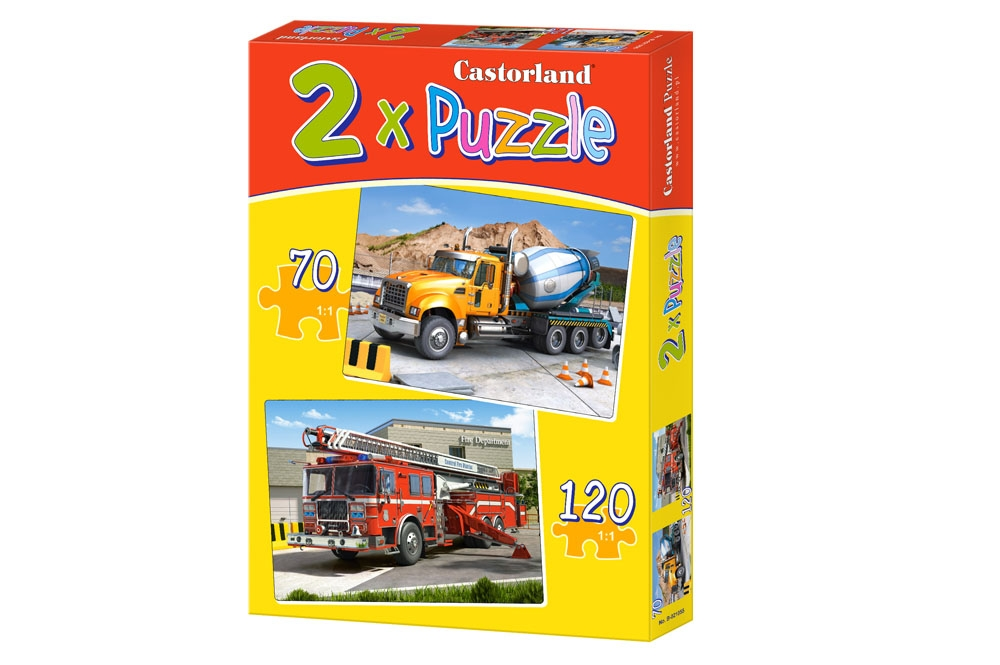 2 puzzles camion toupie et camion de pompiers castorland. Black Bedroom Furniture Sets. Home Design Ideas