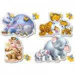 Castorland-04249 4 Puzzles : Bébés de la jungle