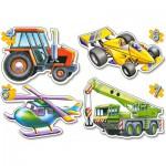 Castorland-04263 4 mini Puzzles  : Différents véhicules