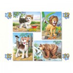 Castorland-04287 4 Puzzles : Animaux