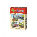 Castorland-04317 4 Puzzles - Formule 1, Train, Pelleteuse, Camion de Pompier