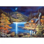 Puzzle  Castorland-102990 Chalet de Pêcheur au Clair de Lune