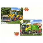 Castorland-21130 2 Puzzles - Pelleteuse et Camion Benne