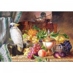 Puzzle  Castorland-300143 Josef Schuster : Nature morte fruits et perroquet