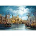 Puzzle  Castorland-300167 Le lever du jour sur le port
