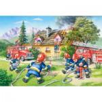 Castorland-40025 Maxi Puzzle : Les pompiers en action