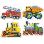 Castorland-4256 4 mini Puzzles : Véhicules chantier, pompier et locomotive
