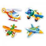 Castorland-B-005048 4 Puzzles - Pièces Maxi - Avions Rigolos