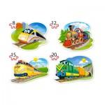 Castorland-B-043033 4 Puzzles - Funny Trains