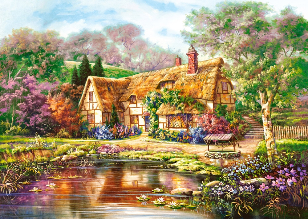 puzzle twilight at woodgreen pond castorland 300365 3000 pi ces puzzles cottages et ch lets. Black Bedroom Furniture Sets. Home Design Ideas