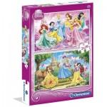 Clementoni-07014 2 Puzzles - Disney Princess