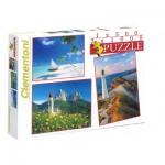 Clementoni-08104 3 Puzzles - Paysages