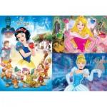 Clementoni-25211 3 Puzzles - Disney Princess