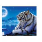 Puzzle  Clementoni-30279 Maman tigre blanc et son bébé au clair de la lune
