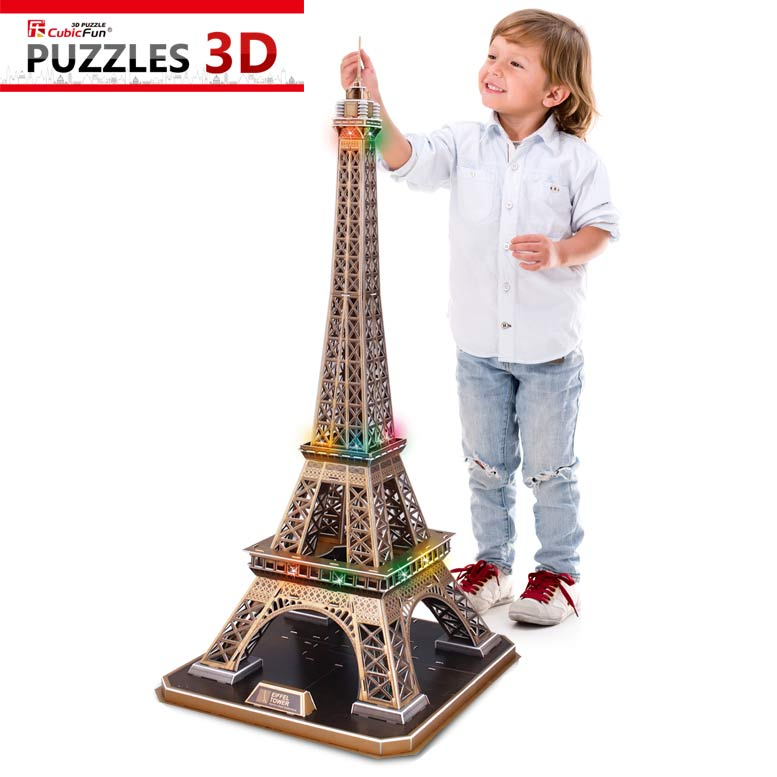 puzzle 3d avec led la tour eiffel difficult 6 8 cubic fun l091h 82 pi ces puzzles. Black Bedroom Furniture Sets. Home Design Ideas