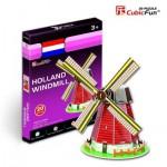 Cubic-Fun-S3005H Puzzle 3D Série Mini - Moulin des Pays-Bas (Difficulté 2/8)