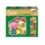 Diset-69944 4 Puzzles Baby Form : Les 3 Petits Cochons