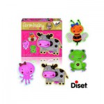Diset-69952 4 Puzzles Baby Form : Vache, Grenouille, Abeille et Pieuvre