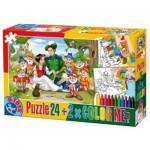 Puzzle  Dtoys-50380-PC-08 Color Me : Blanche Neige + 2 dessins à colorier