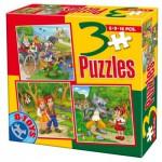 Puzzle  Dtoys-50922-BS-06 Contes et Légendes : Hansel et Gretel, Le chat Botté, le Petit Chaperon Rouge