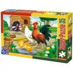 Puzzle  Dtoys-60198-AN-01 Pièces XXL - Poule, coq, poussins et dindons