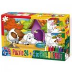 Puzzle  Dtoys-60730-PC-02 Color Me : Le chien couché devant sa niche + 2 dessins à colorier
