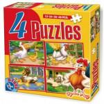 Dtoys-64585-AD-01 4 Puzzles - Poules, oies canards et moutons