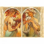 Puzzle  DToys-66930-MU06 Mucha Alphonse - Fruit et Fleur