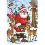 Puzzle  DToys-67616-CH01 Collection de Noël - Le Père Noël et les animaux de la fôret