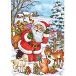 Puzzle  DToys-67616-CH03 Collection de Noël - Le Père Noël et les animaux de la forêt