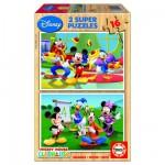 Educa-14181 2 Puzzles en bois - Mickey et ses amis font des activités