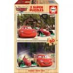 Educa-16372 2 Puzzles en Bois - Cars