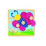 Puzzle  Goula-53065 Encastrement en Bois - Papillon