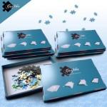 Puzzle  Grafika-00504 Lot de 10 Boites de Tri Bleues - 24 x 22 x 2.5 cm