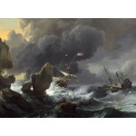 Puzzle  Grafika-01777 Ludolf Backhuysen : Ships in Distress off a Rocky Coast, 1667