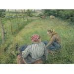 Puzzle  Grafika-02039 Camille Pissarro : Jeunes Paysannes se Reposant dans les Champs Près de Pontoise, 1882