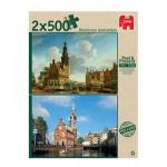 Jumbo-18347 Past and Present - 2 Puzzles - Munttoren Amsterdam