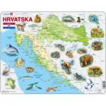 Larsen-A19 Puzzle Cadre - Carte de la Croatie et de ses Animaux (en Croate)