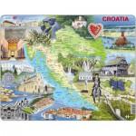 Larsen-A21 Puzzle Cadre - Carte de la Croatie et ses Centre d'intérêts (en Anglais)