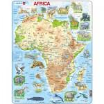 Larsen-A22-GB Puzzle Cadre - Carte de l'Afrique et ses Animaux (en Anglais)