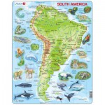 Larsen-A25-GB Puzzle Cadre - Carte de l'Amérique du Sud (en Anglais)