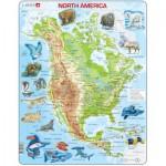 Larsen-A32-EN Puzzle Cadre - Carte de l'Amérique du Nord et ses Animaux (en Anglais)
