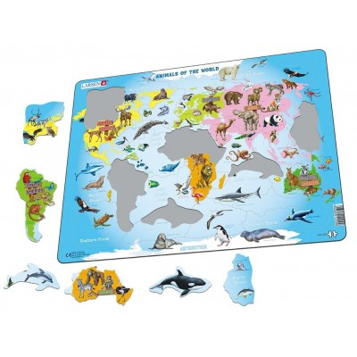 Larsen-A34-EN Puzzle Cadre - Animals of the World