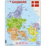 Larsen-A6 Puzzle Cadre - Carte du Danemak (en Danois)