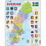 Larsen-A7-SE Puzzle Cadre - Carte de la Suède (en Suédois)