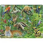 Larsen-FH10 Puzzle Cadre - Les Animaux de la Forêt Tropicale
