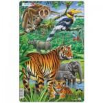 Larsen-H21-1 Puzzle Cadre - Le Tigre et les Animaux de la Jungle