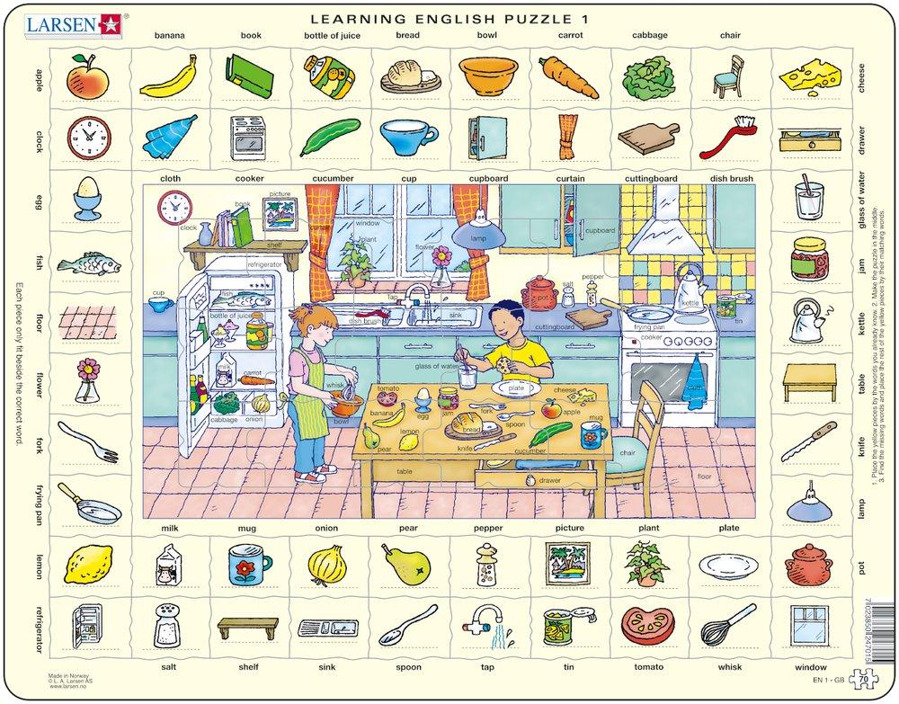 Puzzle cadre apprendre l 39 anglais 1 dans la cuisine en for Asticots dans la cuisine