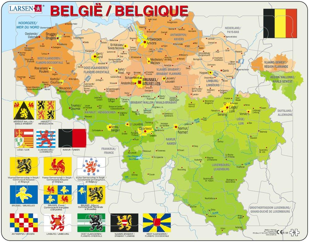 puzzle cadre carte de la belgique en fran ais et flamand larsen k59 48 pi ces puzzles. Black Bedroom Furniture Sets. Home Design Ideas