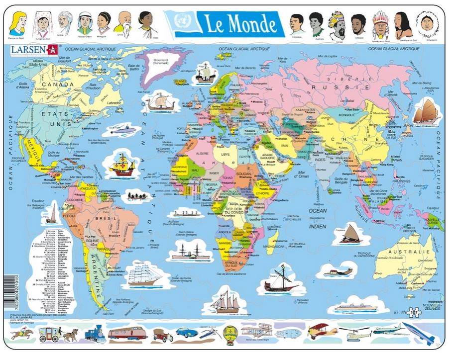 puzzle cadre carte du monde en fran ais larsen k1 fr. Black Bedroom Furniture Sets. Home Design Ideas